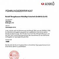Rudolf Rengshausen ANKÖ Urkunde